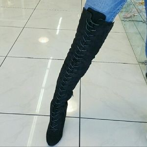 Shoes - Lace up Gold Accent Over the Knees Boots